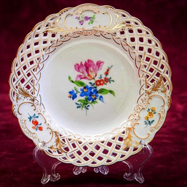Коллекционная Тарелка «Цветочный Букет», прорезной Фарфор MEISSEN / МЕЙСЕН Германия.