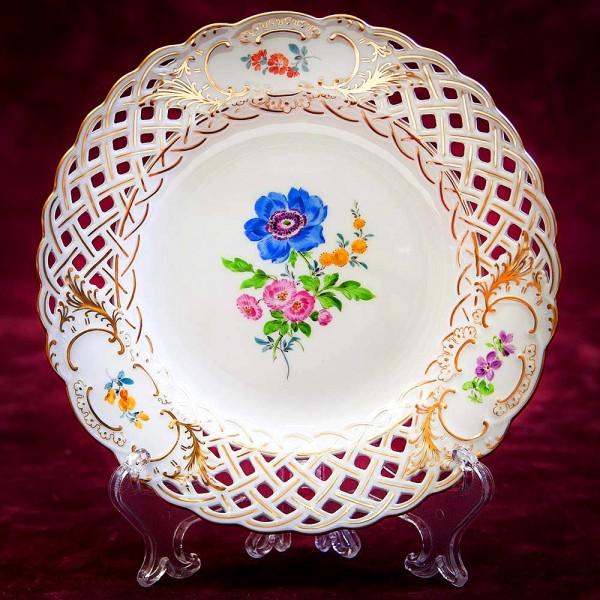 Прорезной Фарфор - Коллекционная Тарелка «Цветочный Букет», MEISSEN / МЕЙСЕН Германия.