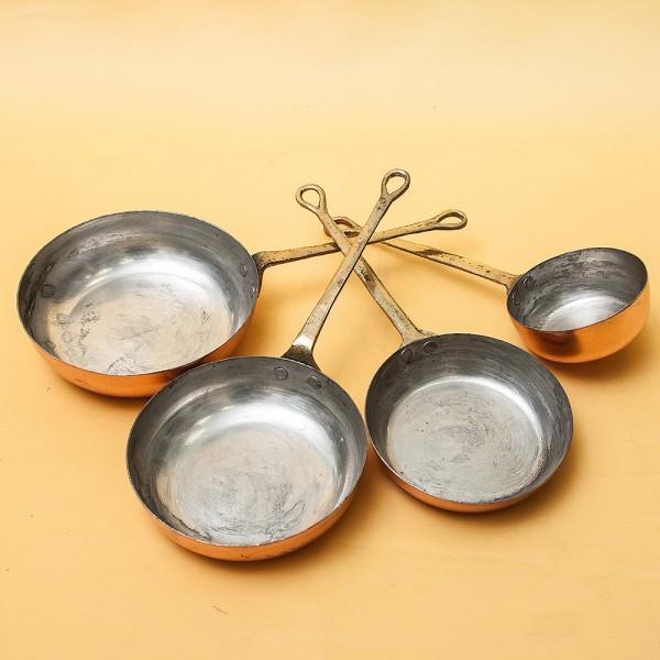 Набор 4 -е штуки - Винтажная Медная Сковорода для жарки, Франция, середина ХХ века!