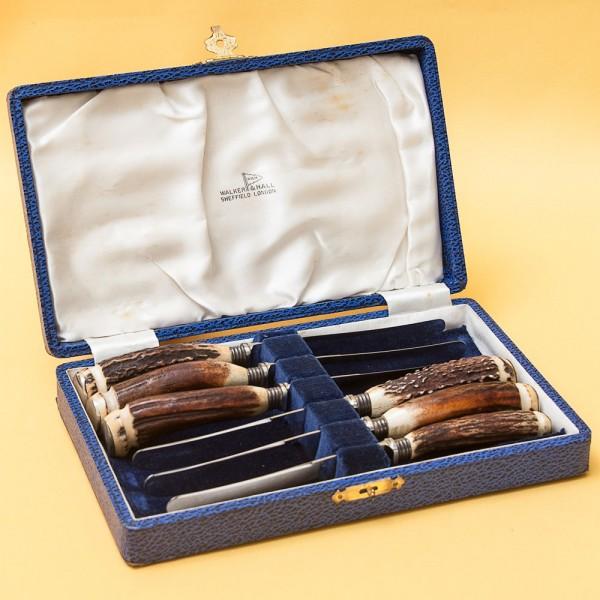Набор Столовых Ножей для Масла «ОХОТА» на 6 персон, Silverplate, SHEFFIELD Англия.
