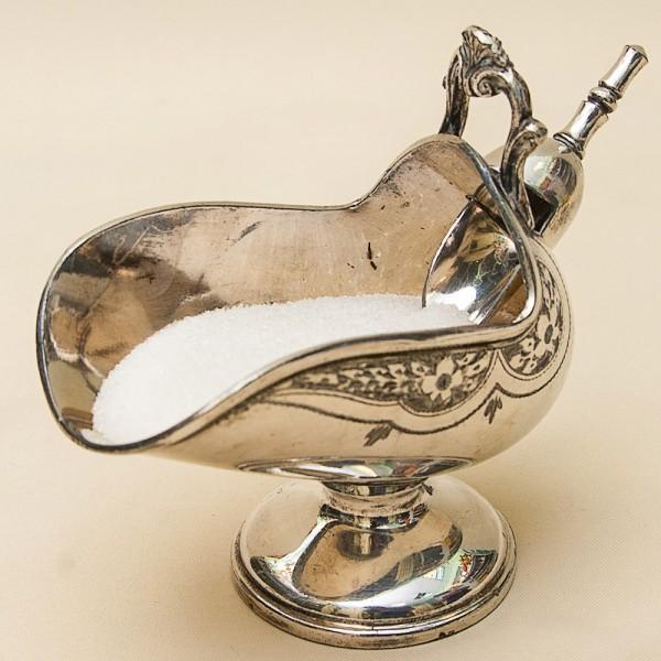 Винтажная Металлическая Сахарница с Совочком Silverplated  АНГЛИЯ