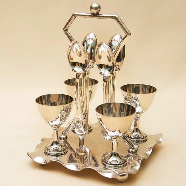 Винтажный Набор для завтрака на 4 персоны, Silverplate, Burmingham Англия, 50-е годы XX века.