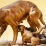 Скульптурная Композиция «Собака и щенки» Фарфор Capodimonte Италия -70гг.