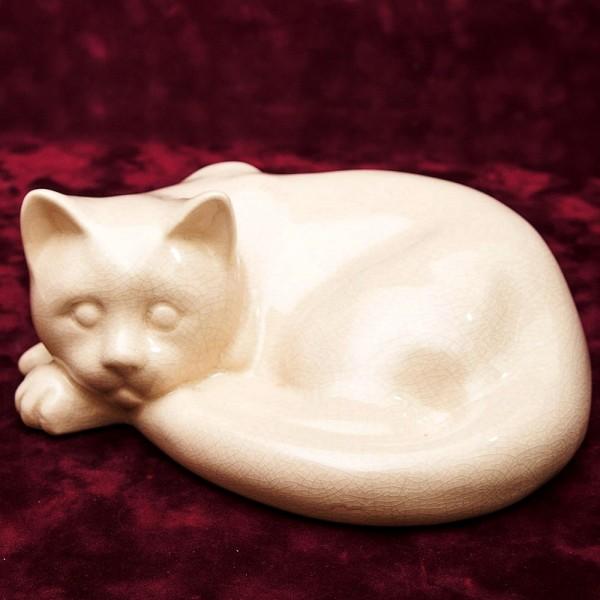 Кошка - Фаянсовая статуэтка «КАЛАЧИКОМ» АРТ- ДЕКО, LUX, Бельгия середина ХХ века.