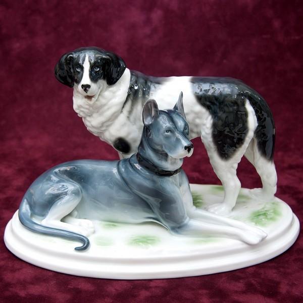 Фарфоровая Статуэтка Две Собаки, «НЕМЕЦКИЙ ДОГ И МЮНСТЕРЛЕНДЕР», Германия 1900 -1934 гг.