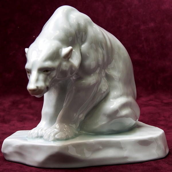 Редкость!!! Фарфоровая Cтатуэтка «Белый Медведь на Льдине» HEREND Венгрия -1927 год.