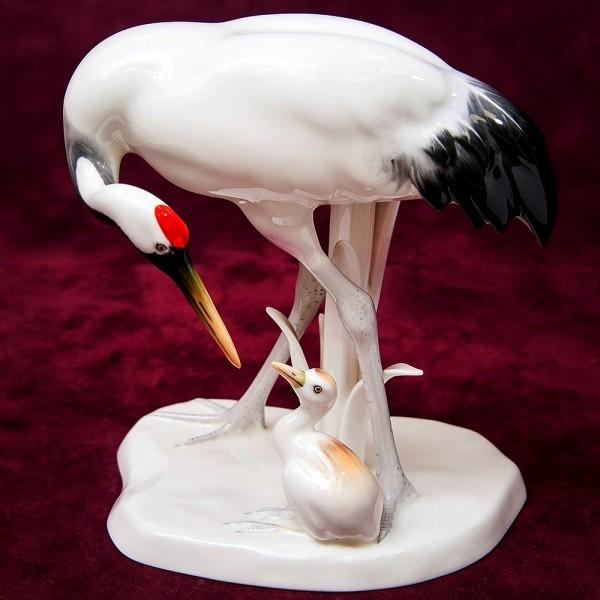 Редкость!!! Фарфоровая Статуэтка «Птицы - Журавль с Журавленком», Norirake Япония -70 гг.