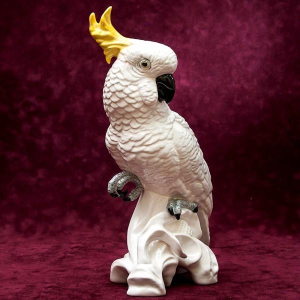 Коллекционная Фарфоровая статуэтка «Большой Желтохохлый Какаду» - Н-33 см., Crown Staffordshire, Англия.