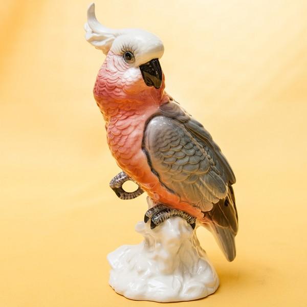 Птица - Коллекционная Фарфоровая статуэтка «Попугай - Розовый Какаду» - Н-21 см., Beswich, Англия.