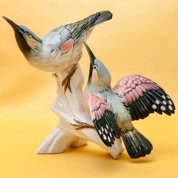 Пара Птиц - Фарфоровая Статуэтка «Свиристели» Н -19 см., Карл Энц / Karl Enz, Германия 50гг.
