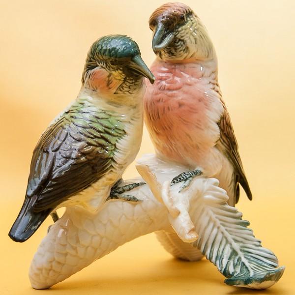 Птицы - Фарфоровая статуэтка «Пара Клестов», Карл Энц / Karl Enz,  Германия, 50-е годы ХХ века.
