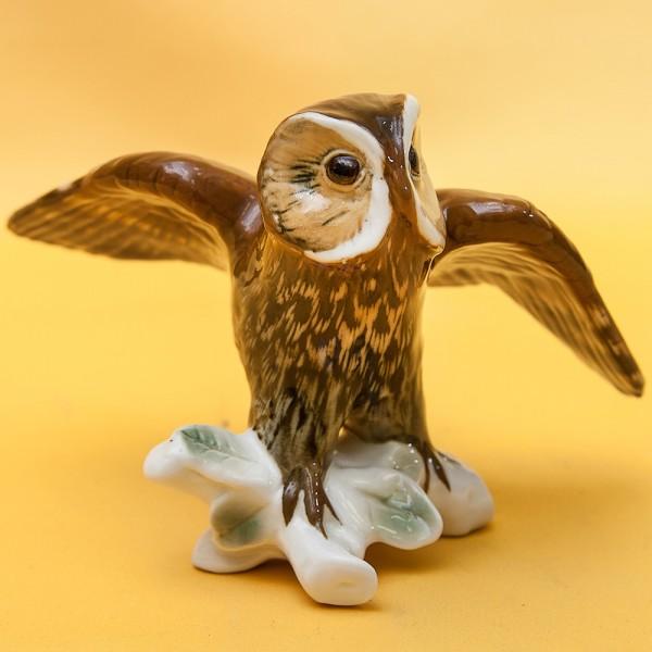 Птица - Фарфоровая статуэтка «Сова», Карл Энц / Karl Enz,  Германия, 50-е годы ХХ века.