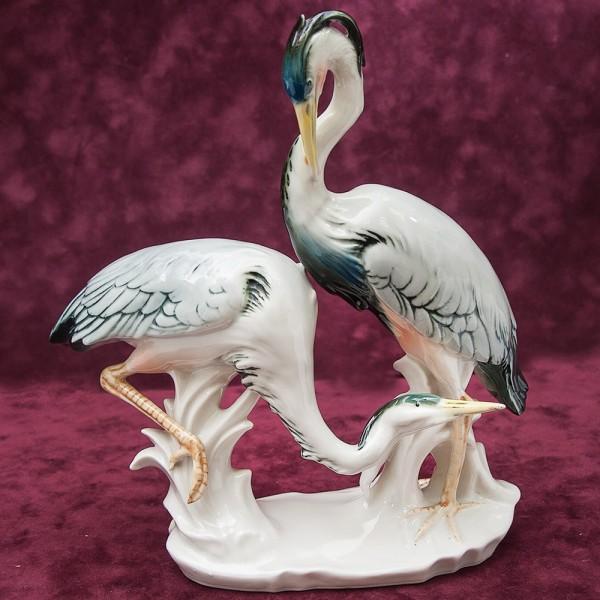 Птицы - Фарфоровая статуэтка «ПАРА ЖУРАВЛЕЙ», Карл Энц / Karl Enz,  Германия, 50-е годы ХХ века.