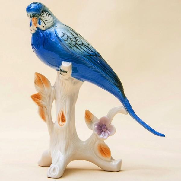Птица - Фарфоровая статуэтка «Голубой Попугайчик», Карл Энц / Karl Enz,  Германия, 50-е гг.