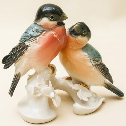 Птицы - Фарфоровая статуэтка «Пара Снигирей», Карл Энц / Karl Enz,  Германия, 50-е годы ХХ века.