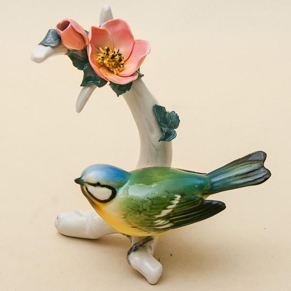 Птица - Фарфоровая статуэтка «Синичка на веточке», Карл Энц / Karl Enz,  Германия, 50-е г.