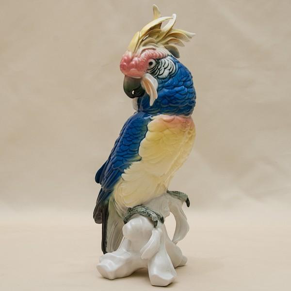 Фарфоровая статуэтка Птица - «Попугай - Какаду» Н -28 см., Карл Энц / Karl Enz,  Германия, 50-е гг.