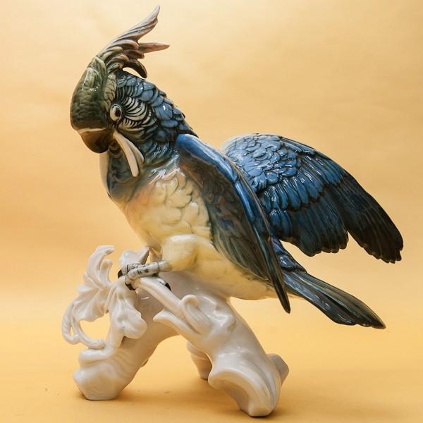 Птица - Коллекционная Статуэтка «Попугай - Какаду», Фарфор Карл Энц / Karl Enz, Германия, 50-е гг.