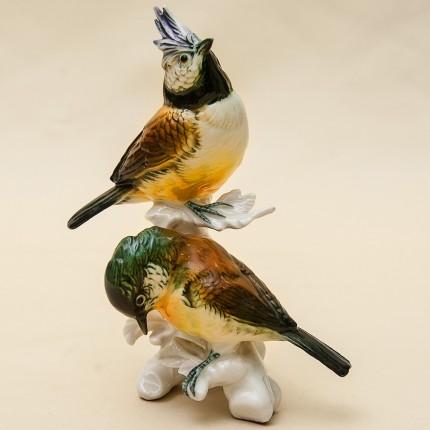 Пара Птиц - Фарфоровая статуэтка «Хохлатые Синицы», Карл Энц / Karl Enz,  Германия, 50-е гг.