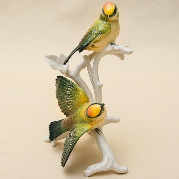Пара Птиц - Фарфоровая статуэтка «Золотоголовый Королёк», Карл Энц / Karl Enz, Германия, 50-е гг.