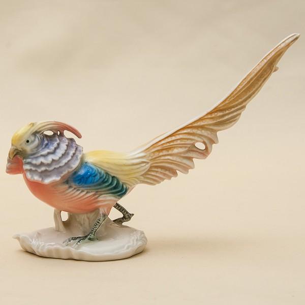 Птица - Фарфоровая статуэтка «Малый Золотой Фазан», Карл Энц / Karl Enz,  Германия, 50-е гг.