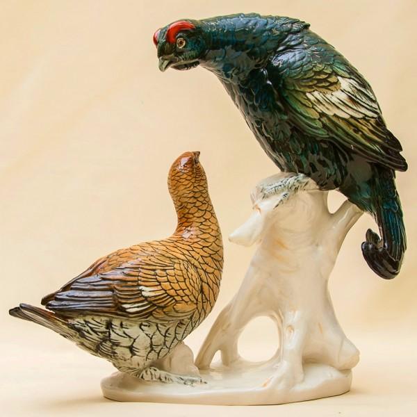 Пара Птиц - Фарфоровая Статуэтка «Тетерева» Н -30 см., Карл Энц / Karl Enz, Германия 60гг.