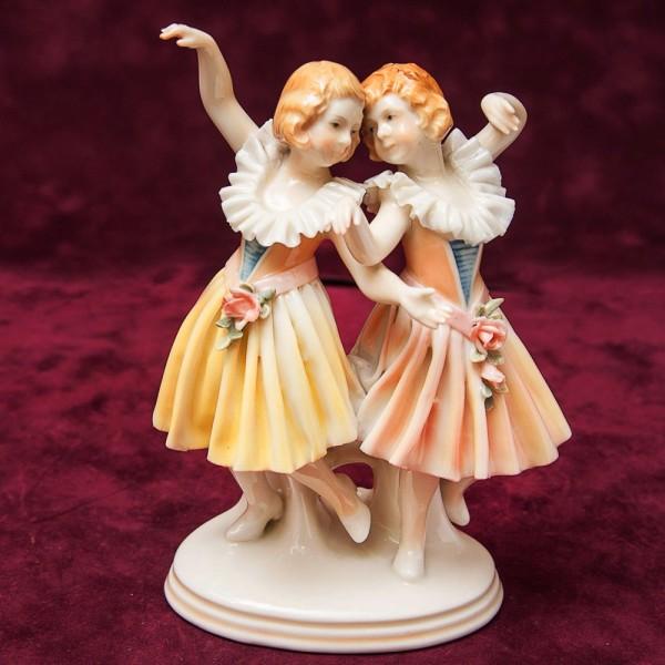 Редкость!!! Фарфоровая Статуэтка «Танцующие Девочки», Карл Энц / Karl Enz, Германия, 30-е гг.