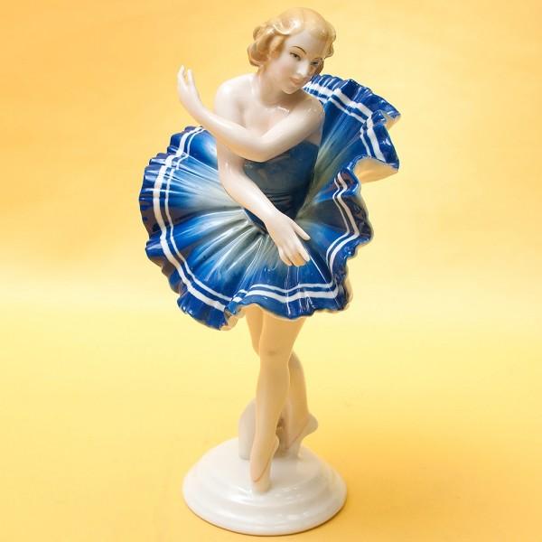 Редкость!!! Фарфоровая Статуэтка «Балерина в голубом платье», Карл Энц / Karl Enz,  Германия 30-е гг.