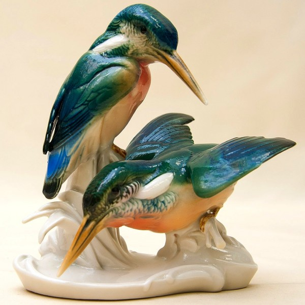 Птицы - Фарфоровая Статуэтка «Пара Зимородков», Карл Энц / Karl Enz, Германия 50гг.