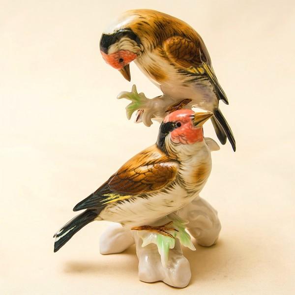 Пара Птиц - Фарфоровая Статуэтка «Чечётки», Карл Энц / Karl Enz, Германия 50гг.