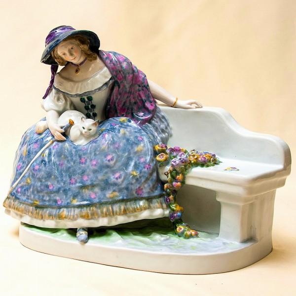 Редкость!!! Большая Фарфоровая Статуэтка «Дама с кошкой», Карл Энц / Karl Enz,  Германия, 50-е гг.