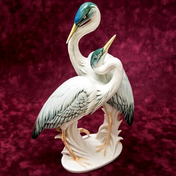 Фарфоровая статуэтка «Пара птиц - Цапли», Карл Энц / Karl Enz,  Германия, 50-е годы ХХ века.