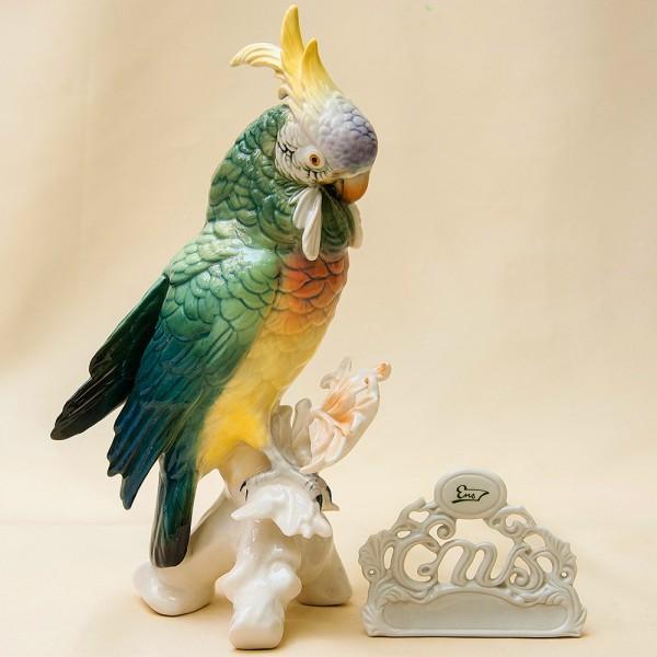 Птица - Фарфоровая статуэтка «Попугай - Какаду» Н -27 см., Карл Энц / Karl Enz,  Германия, 50-е гг.