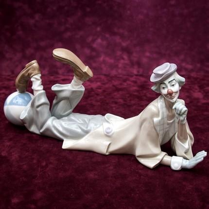 Редкая! Большая Коллекционная Фарфоровая статуэтка «КЛОУН с Мячом» Lladro, Испания -1970год.