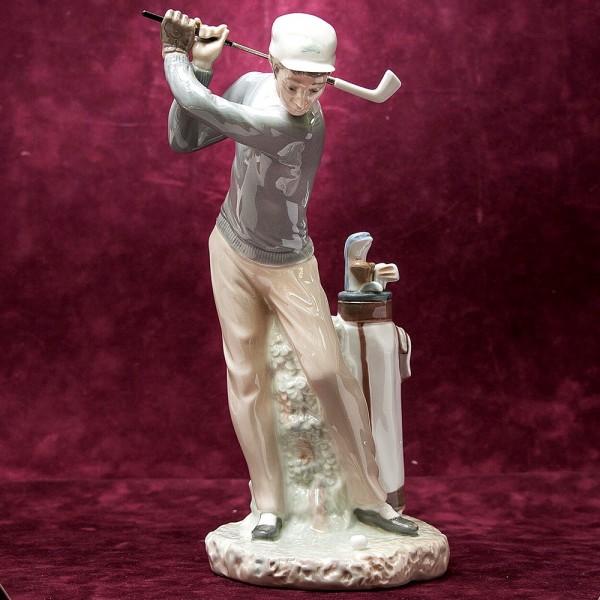 Редкая! Большая Коллекционная Фарфоровая статуэтка «Гольфист» Lladro, Испания.