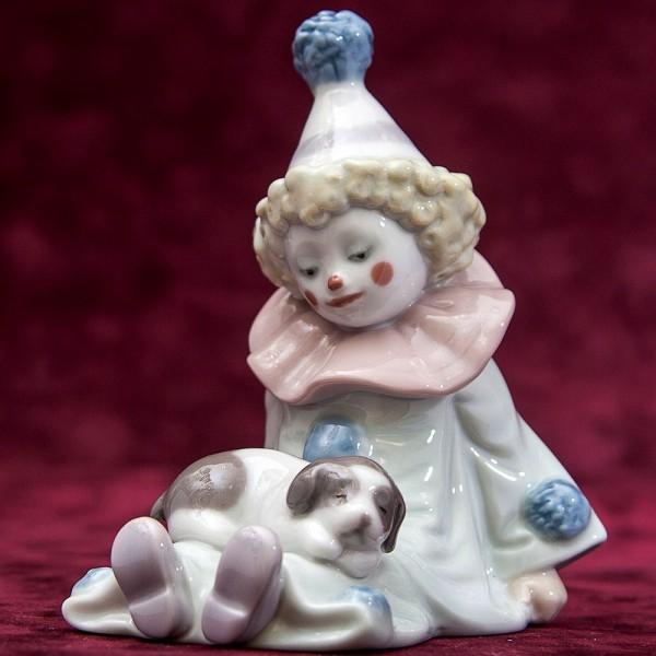 Фарфоровая статуэтка «Маленький клоун со щенком» Lladro, Испания - 1985 год.