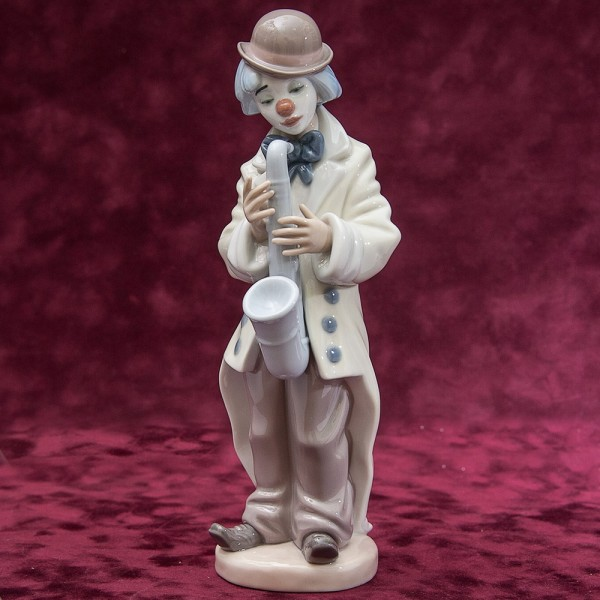 Фарфоровая статуэтка «Клоун с cаксофоном» Lladro, Испания - 1987 год.