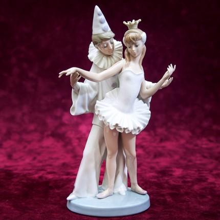 Коллекционная Фарфоровая статуэтка «Пьеро и Балерина» Lladro, Испания - 1974 год.
