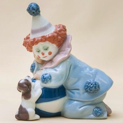 Фарфоровая статуэтка «Маленький клоун с мячом и собачкой» Lladro, Испания - 1985 год.