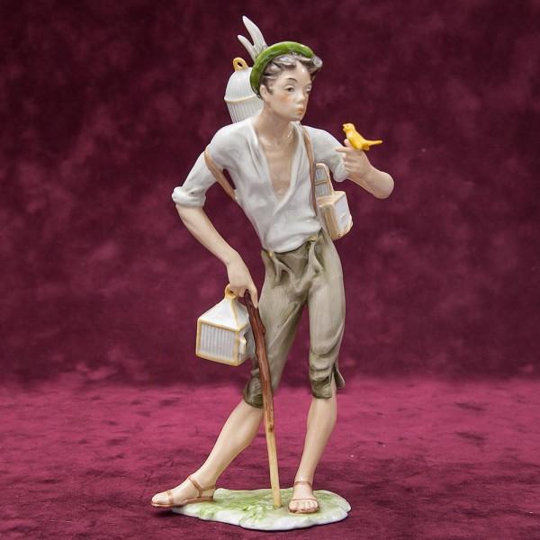 Редкая! Коллекционная Фарфоровая статуэтка «ПТИЦЕЛОВ» KAISER Porzellan Германия - 1955 -1965 года.