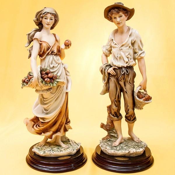 Парная Коллекционная Скульптурная Композиция «ЮНОША И ДЕВУШКА» Giuseppe ARMANI, Италия.