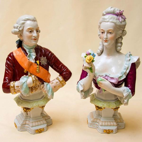 Большие Фарфоровые Статуэтки - Бюсты «Мария-Антуанетта и Людовик XVI» Shebe - Alsbach Германия -1952г.