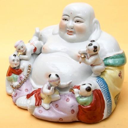 «Хотэй с детьми» Коллекционная Фарфоровая Статуэтка Китай 50 -е годы ХХ века.