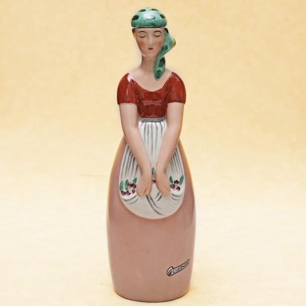 """Штоф-Графин-Бутылка- Флакон для ликёра """"Девушка с ягодами"""" AРТ ДЕКО ROBJ ФРАНЦИЯ 1928г."""