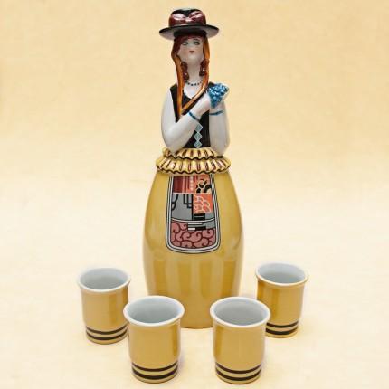 """Штоф-Графин-Бутылка- Флакон для ликёра """"Хороший Год"""" AРТ ДЕКО ROBJ ФРАНЦИЯ 1928г."""