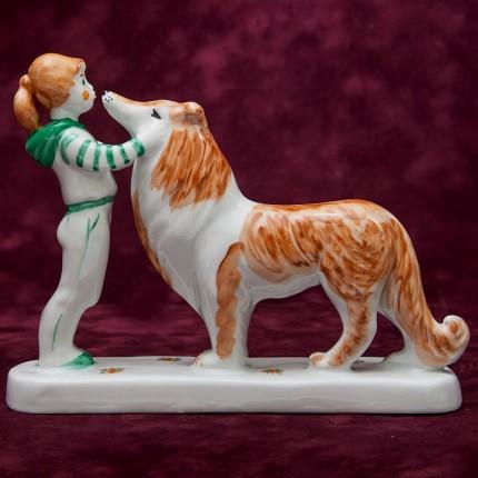 Фарфоровая Скульптура «Девочка с собакой» СССР ДФЗ - Дулево -1987 год.