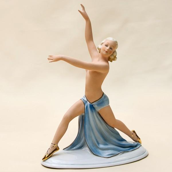 Фарфоровая статуэтка «Танцовщица в голубом» Н-23 см. FASOLD & STAUCH,  Германия.
