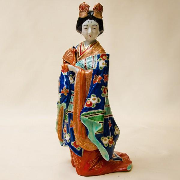 Редкая! Коллекционная Фарфоровая Статуэтка «Девушка с веером» Япония,  SATSUMA 50гг.