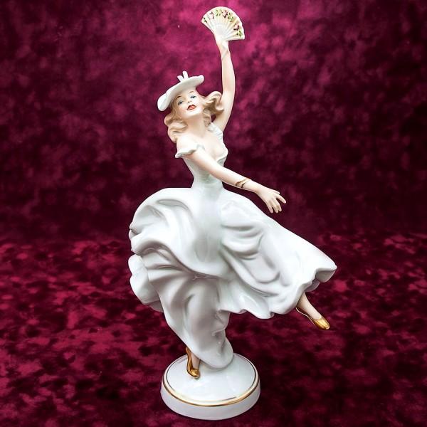 Большая Фарфоровая статуэтка «Танец c Веером» Н-35см. ВАЛЕНДОРФ - WALLENDORF  Германия.