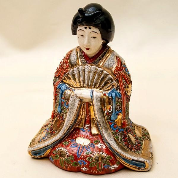 Редкая! Коллекционная Фарфороваях Статуэтка «Девушка с веером» Япония,  SATSUMA 50гг.